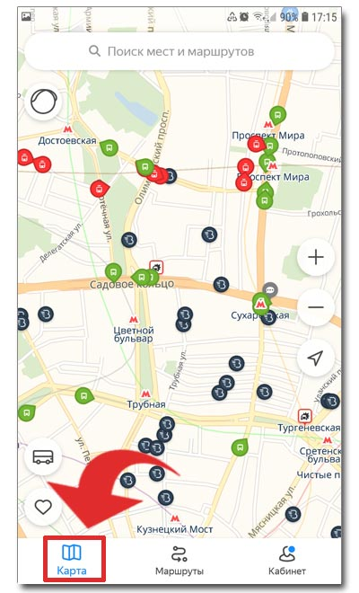 Нажатие на кнопку Карта в приложении