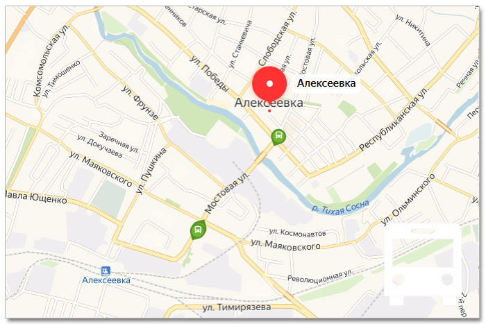 Местоположение транспорта онлайн на карте города Алексеевка