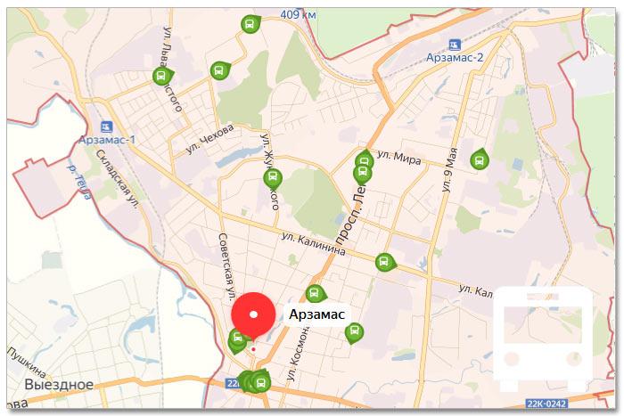 Местоположение транспорта онлайн на карте города Арзамаса