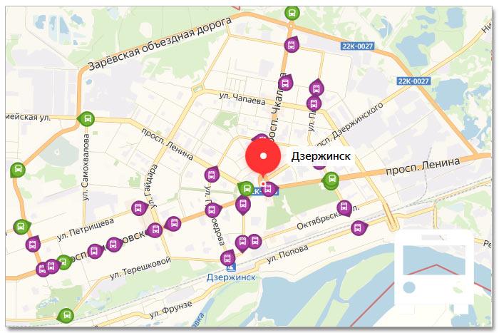 Местоположение транспорта онлайн на карте города Дзержинска