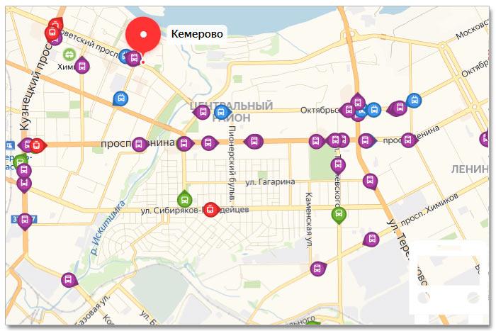 Местоположение транспорта онлайн на карте города Кемерово