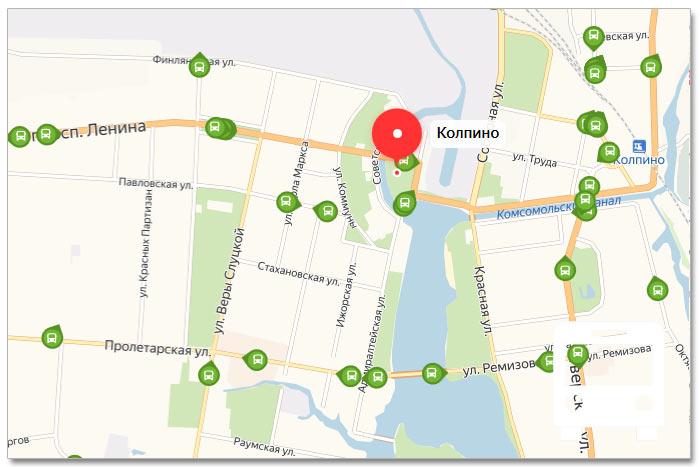 Местоположение транспорта онлайн на карте города Колпино