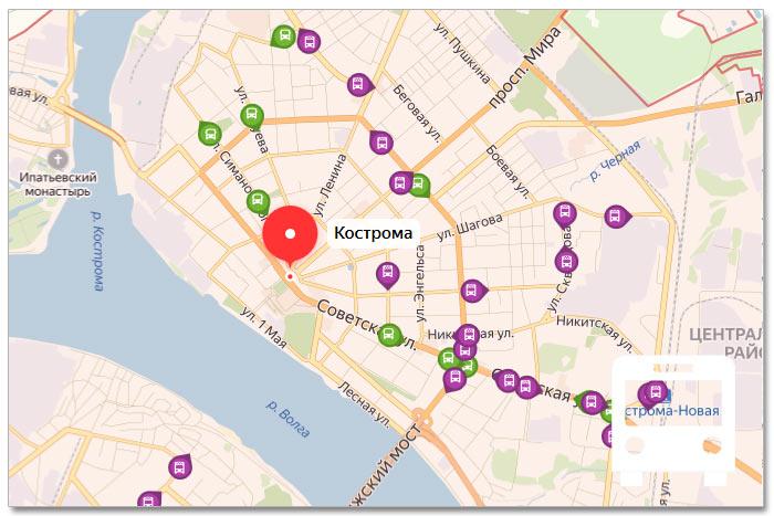 Местоположение транспорта онлайн на карте города Костромы