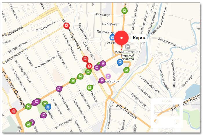 Местоположение транспорта онлайн на карте города Курска