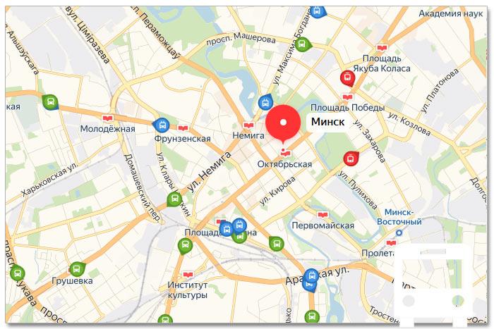 Местоположение транспорта онлайн на карте города Минска