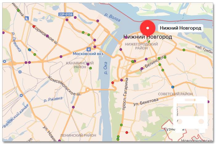 Местоположение транспорта онлайн на карте города Нижнего Новгорода