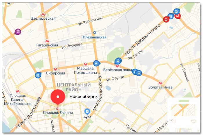 Местоположение транспорта онлайн на карте города Новосибирска