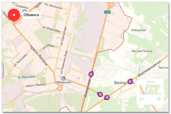 Местоположение транспорта онлайн на карте города Обнинска