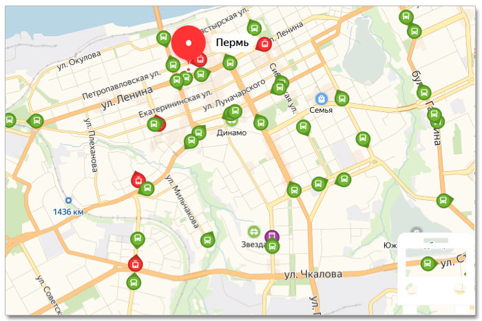 Местоположение транспорта онлайн на карте города Перми