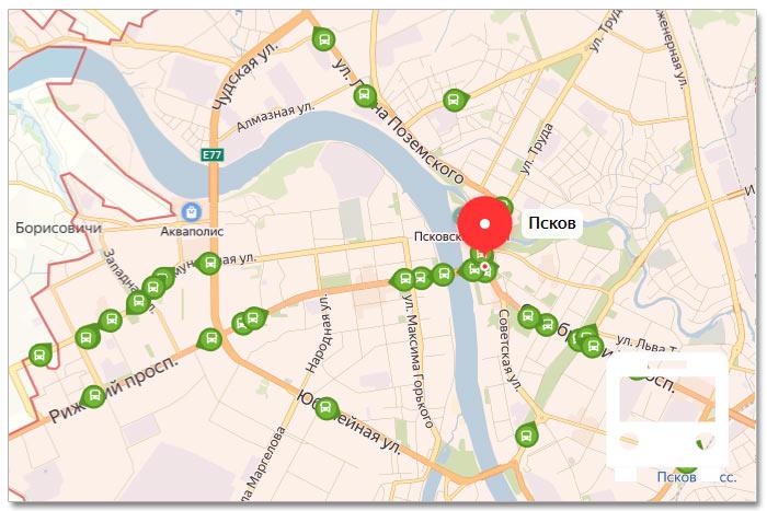 Местоположение транспорта онлайн на карте города Пскова
