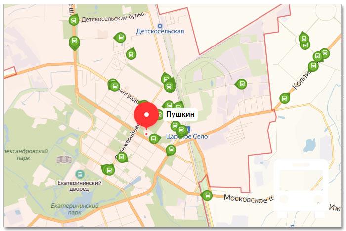 Местоположение транспорта онлайн на карте города Пушкин