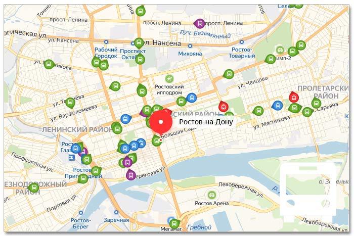 Местоположение транспорта онлайн на карте города Ростове-на-Дону