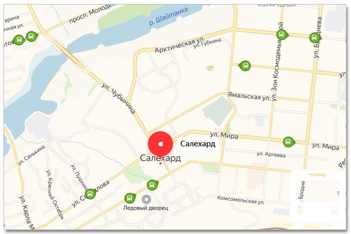 Местоположение транспорта онлайн на карте города Салехарде
