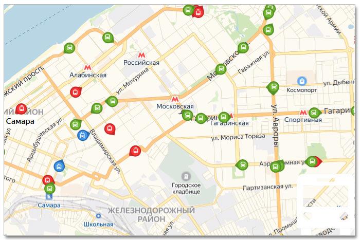 Местоположение транспорта онлайн на карте города Самары