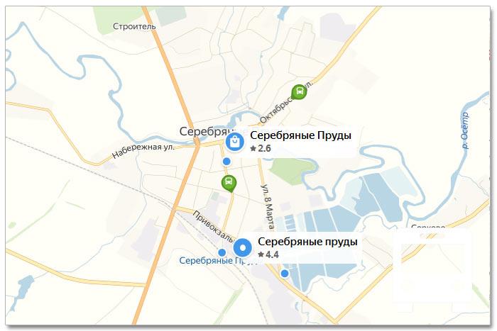Местоположение транспорта онлайн на карте города Серебряные Пруды