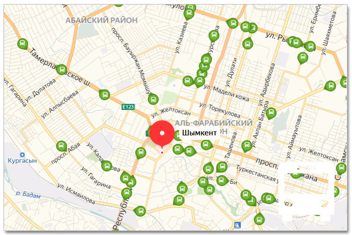 Местоположение транспорта онлайн на карте города Шымкента