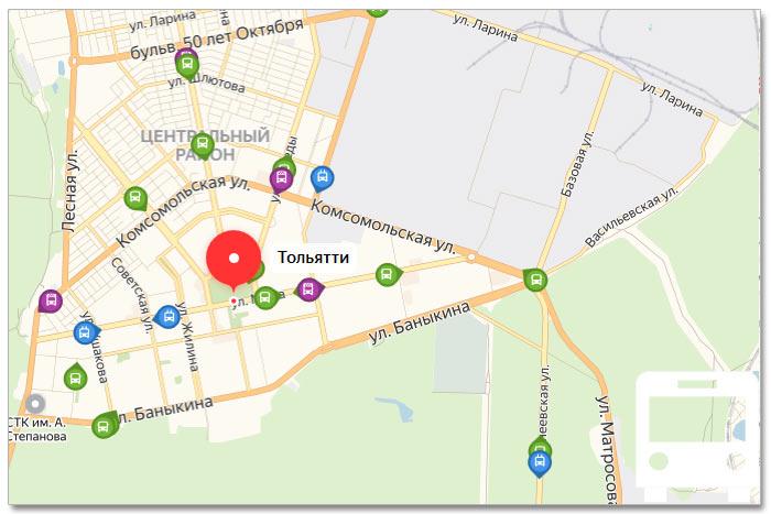 Местоположение транспорта онлайн на карте города Тольятти
