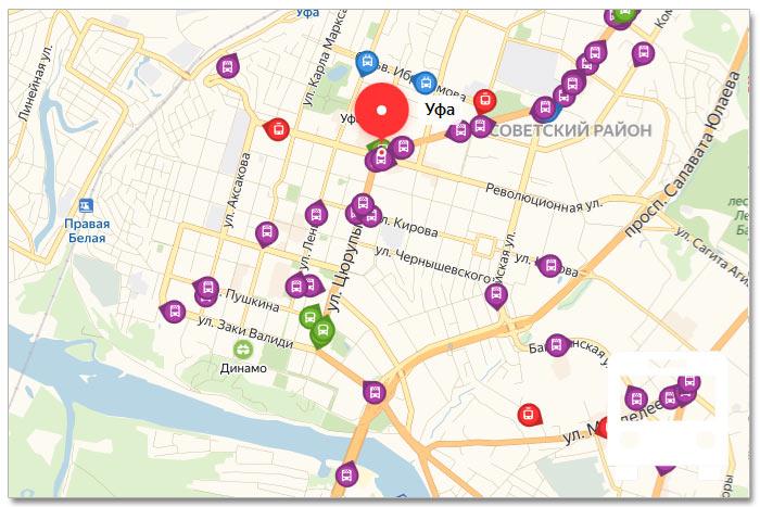 Местоположение транспорта онлайн на карте города Уфы