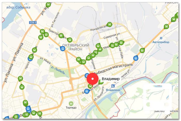 Местоположение транспорта онлайн на карте города Владимир
