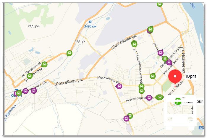 Местоположение транспорта онлайн на карте города Юргы