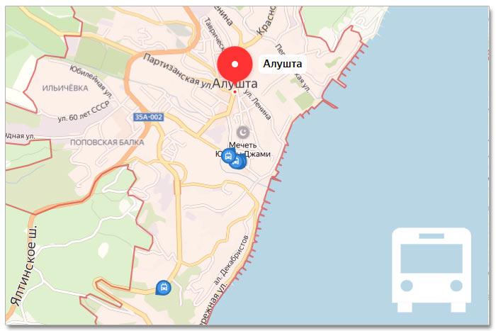Местоположение транспорта онлайн на карте города Алушта