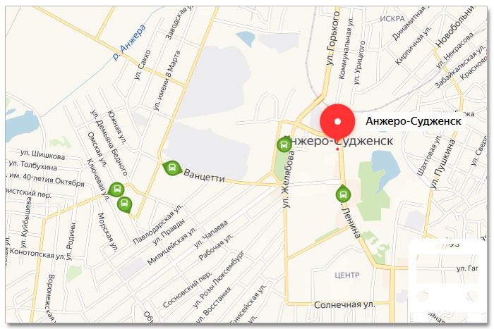 Местоположение транспорта онлайн на карте города Анжеро-Судженска