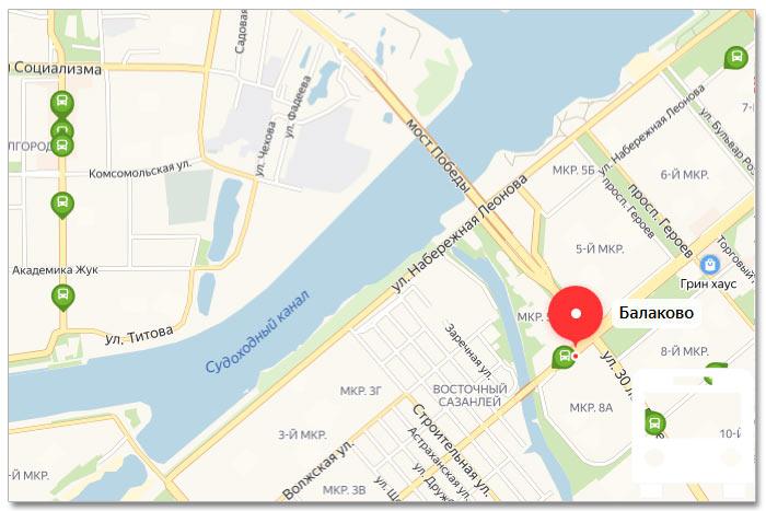 Местоположение транспорта онлайн на карте города Балаково