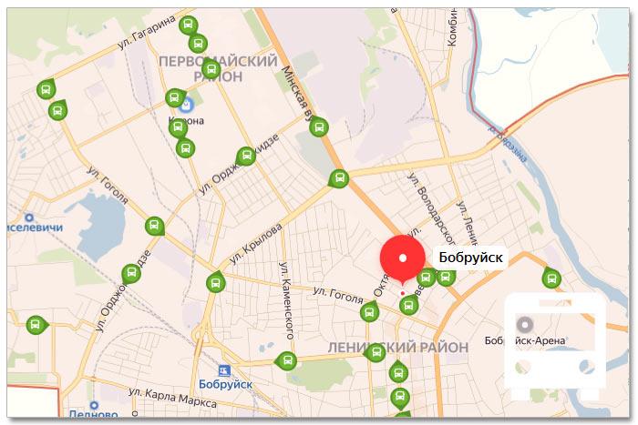 Местоположение транспорта онлайн на карте города Бобруйска