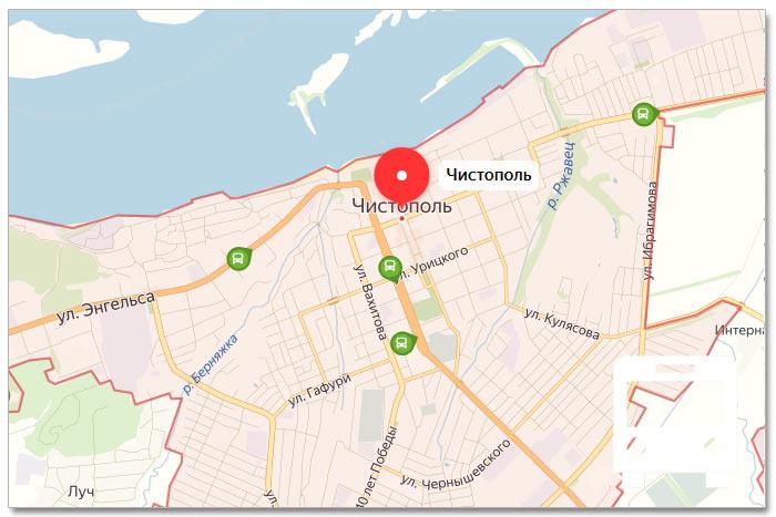 Местоположение транспорта онлайн на карте города Чистополь