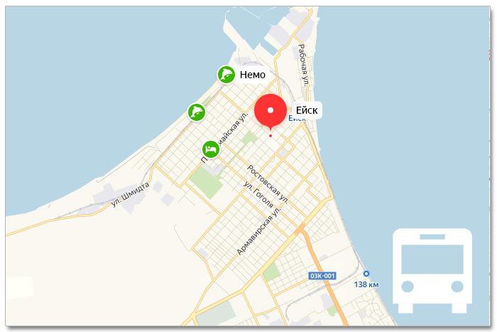 Местоположение транспорта онлайн на карте города Ейска