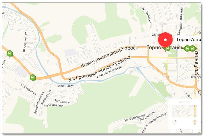 Местоположение транспорта онлайн на карте города Горно-Алтайска