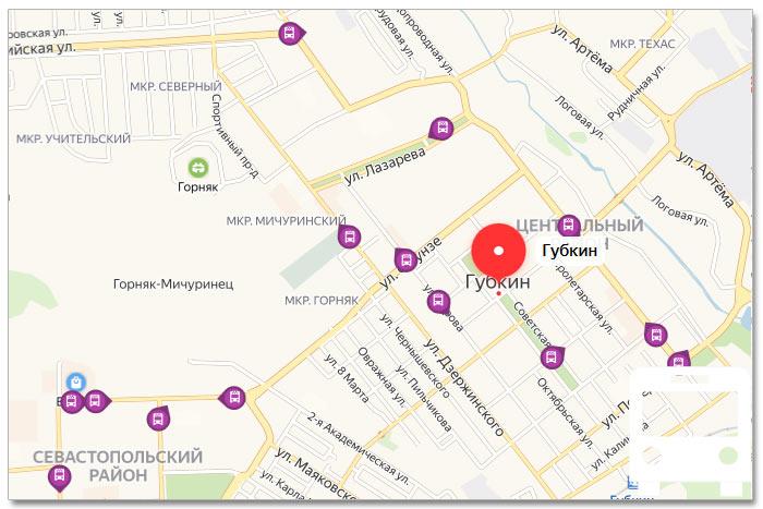 Местоположение транспорта онлайн на карте города Губкина