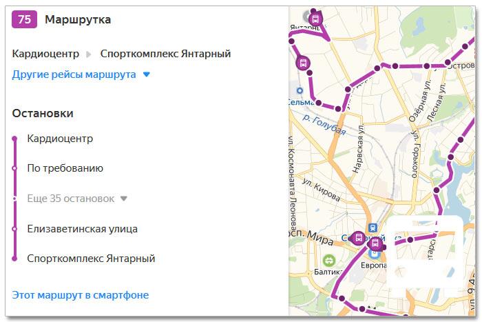Расписание движения транспорта и расположение остановок в Калининграде