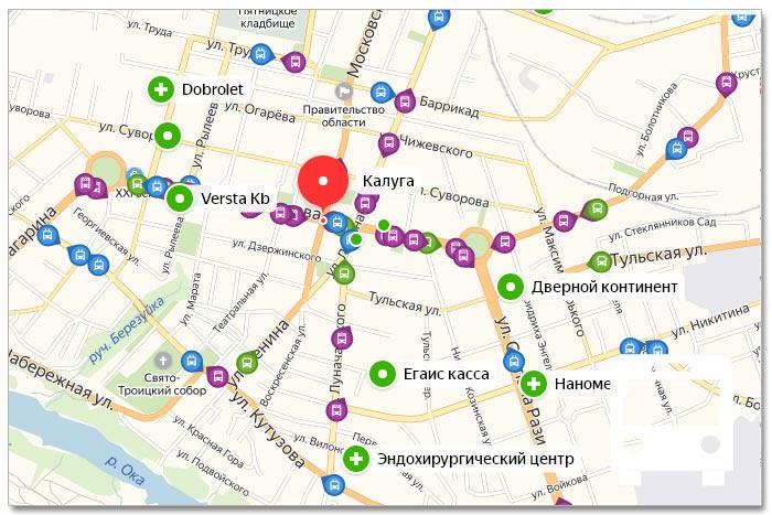 Местоположение транспорта онлайн на карте города Калуги