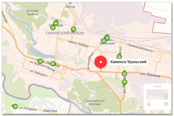 Местоположение транспорта онлайн на карте города Каменск-Уральска