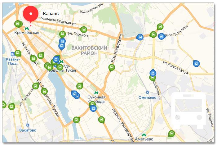 Местоположение транспорта онлайн на карте города Казани