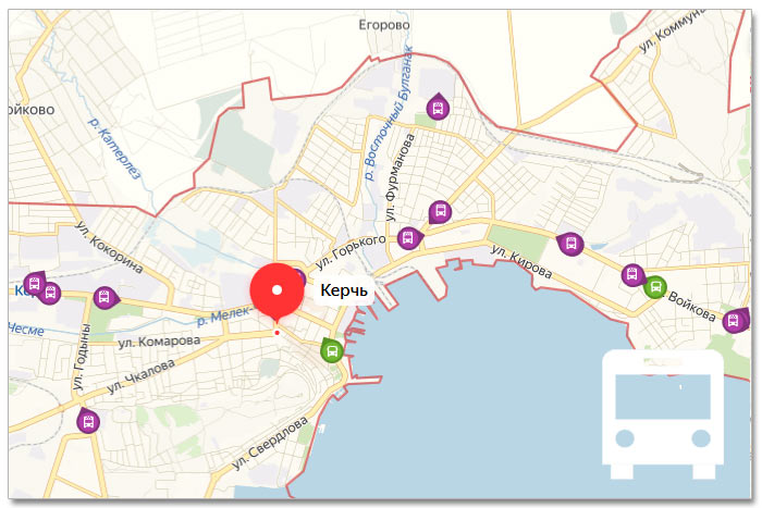 Местоположение транспорта онлайн на карте города Керчи