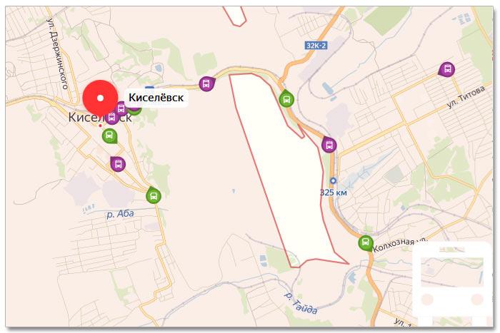 Местоположение транспорта онлайн на карте города Киселевска