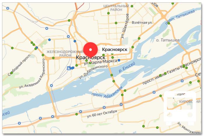 Местоположение транспорта онлайн на карте города Красноярска
