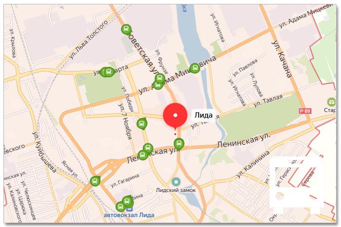 Местоположение транспорта онлайн на карте города Лида