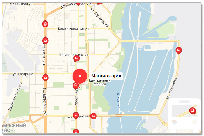 Местоположение транспорта онлайн на карте города Магнитогорска