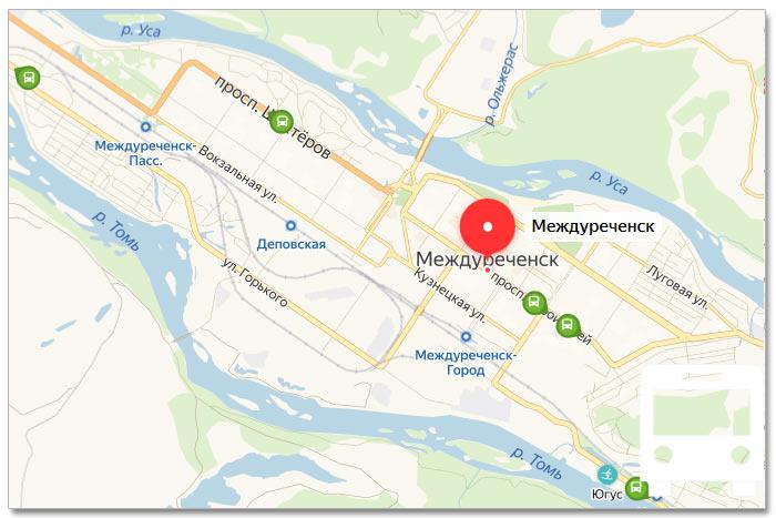 Местоположение транспорта онлайн на карте города Междуреченска