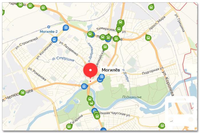 Местоположение транспорта онлайн на карте города Могилева