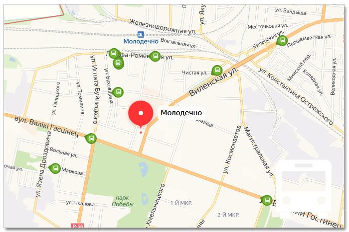 Местоположение транспорта онлайн на карте города Молодечно