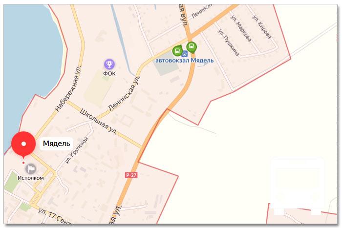 Местоположение транспорта онлайн на карте города Мядель
