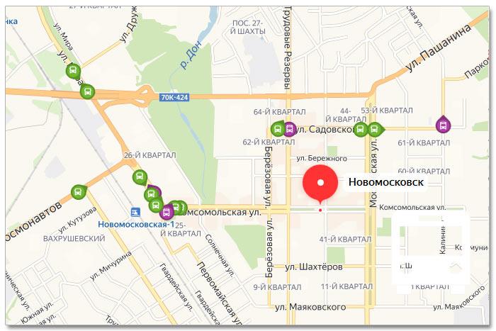 Местоположение транспорта онлайн на карте города Новомосковска