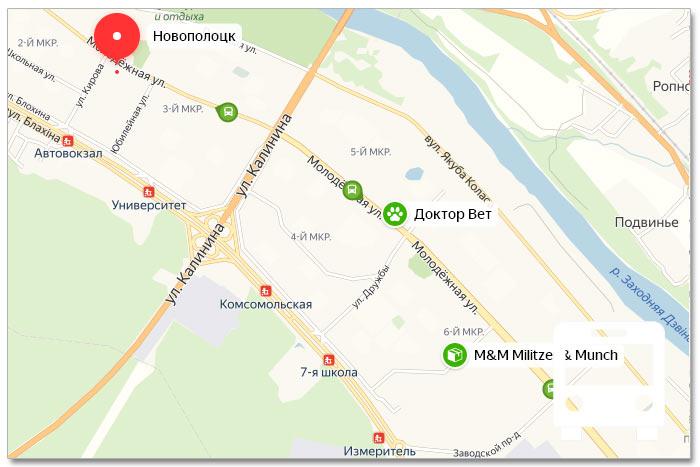 Местоположение транспорта онлайн на карте города Новополоцка