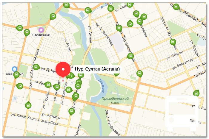 Местоположение транспорта онлайн на карте города Нур-Султан