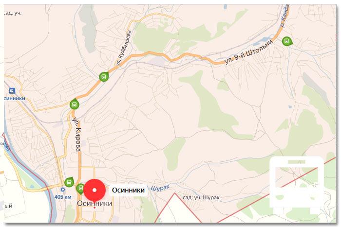 Местоположение транспорта онлайн на карте города Осинники