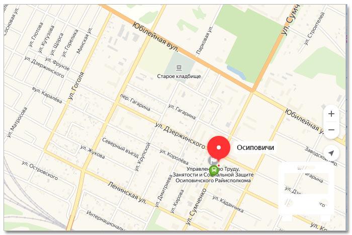 Местоположение транспорта онлайн на карте города Осиповичи